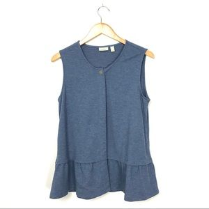 LOGO Lounge Soft French Terry Button Vest Blue A7